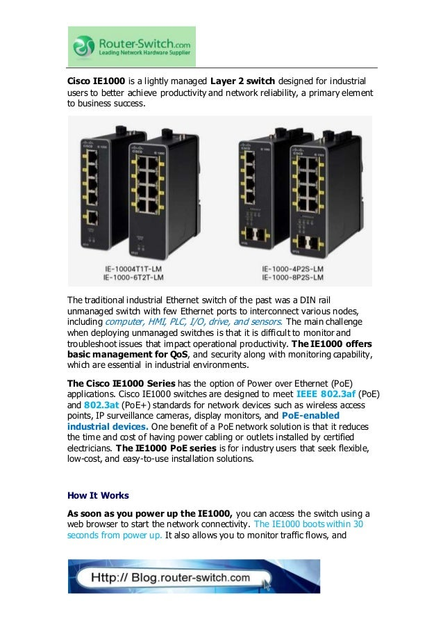 Cisco Industrial Ethernet 1000 Series Switches How It Works