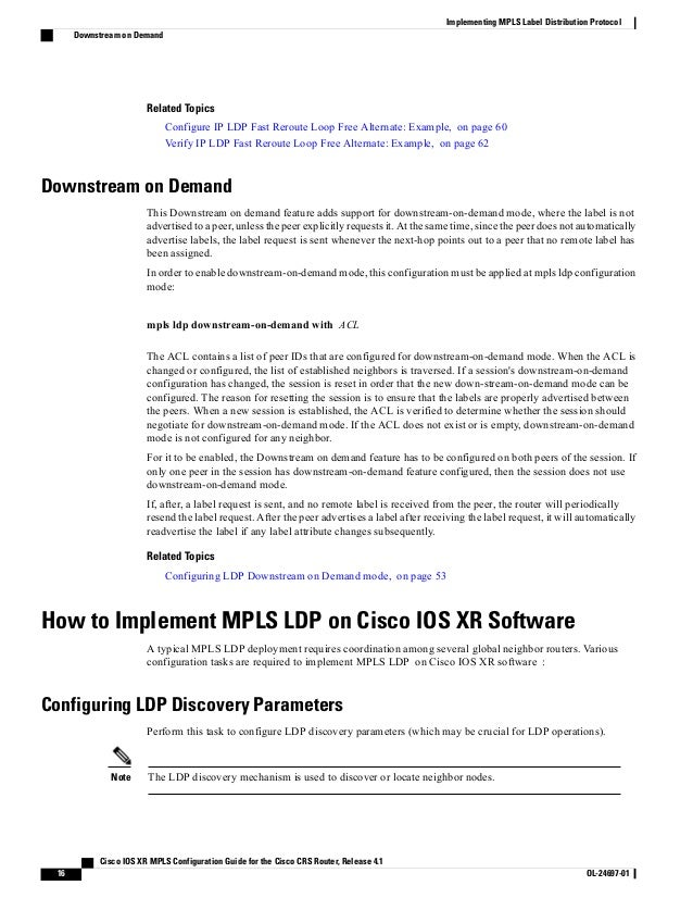 Cisco ios xr mpls configuration guide for the cisco crs router,