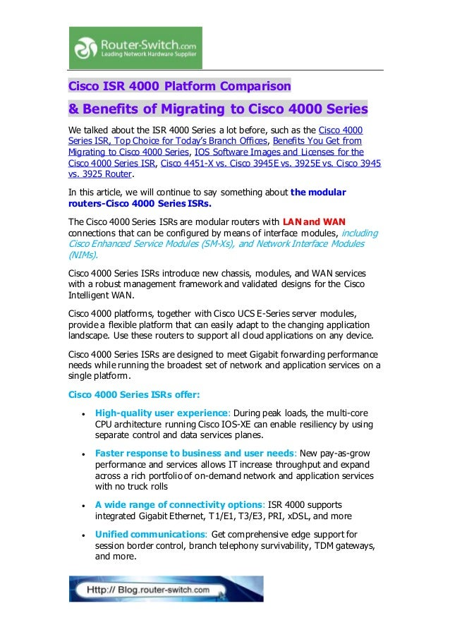 Cisco isr 4000 platform comparison &