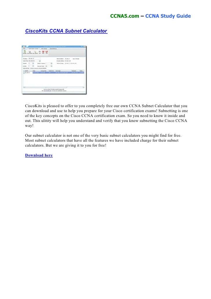 Cisco kits ccna subnet calculator