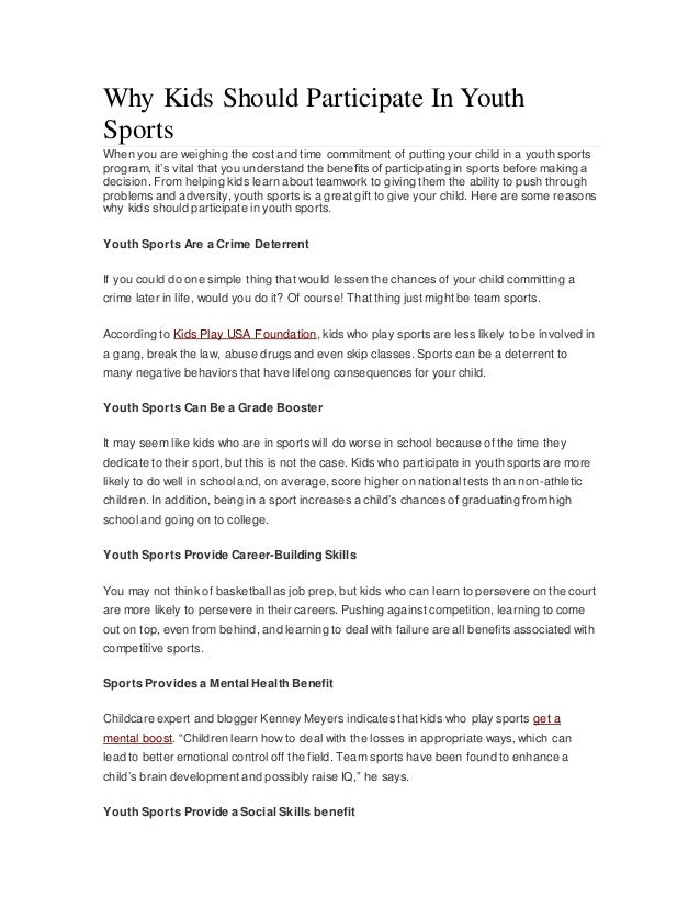 Why Kids Should Participate In Youth Sports