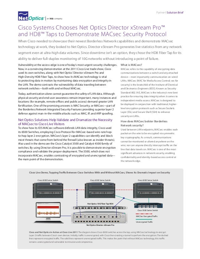 Partner I Solution Brief  Cisco Systems Chooses Net Optics Director xStream Pro™ and HD8™ Taps to Demonstrate MACsec Secur...