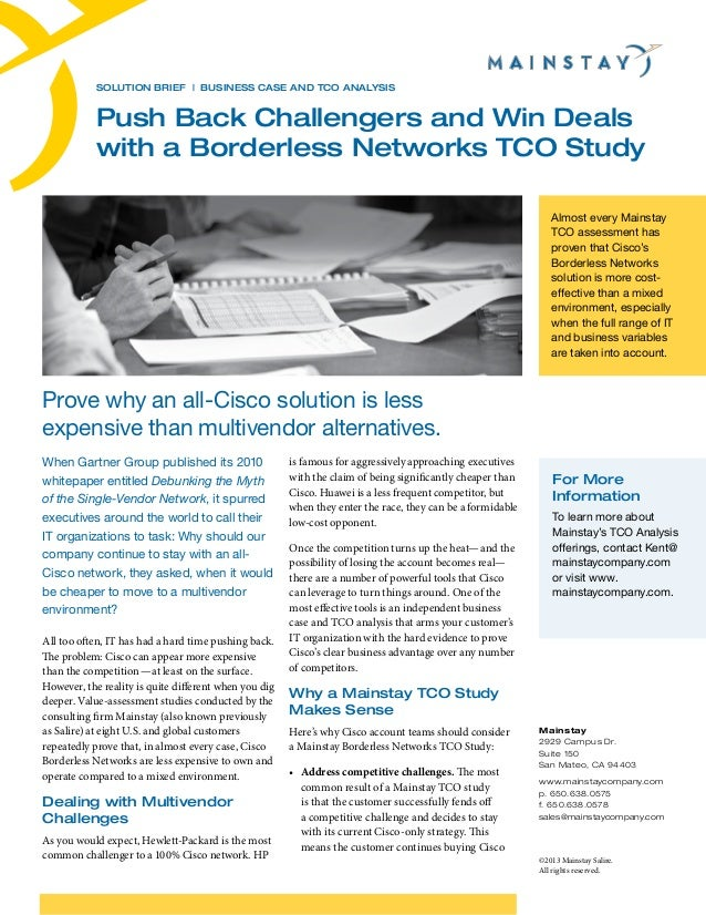 Solution Brief | BUSINESS CASE AND TCO ANALYSIS  Push Back Challengers and Win Deals with a Borderless Networks TCO Study ...