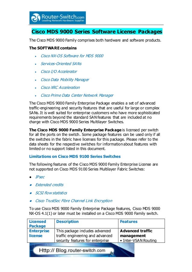 Cisco mds 9000 series software license packages