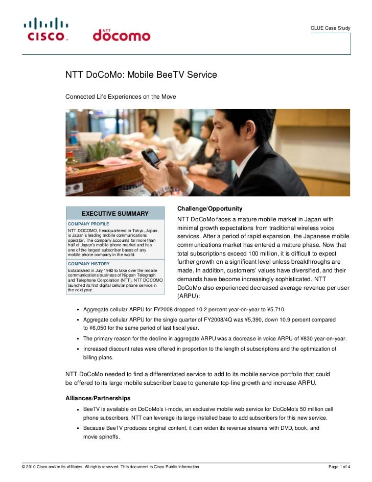 CLUE Case Study                        NTT DoCoMo: Mobile BeeTV Service                        Connected Life Experiences ...