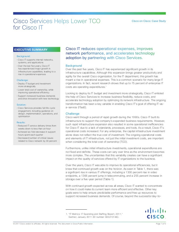 Cisco Services Helps Lower TCO for Cisco IT