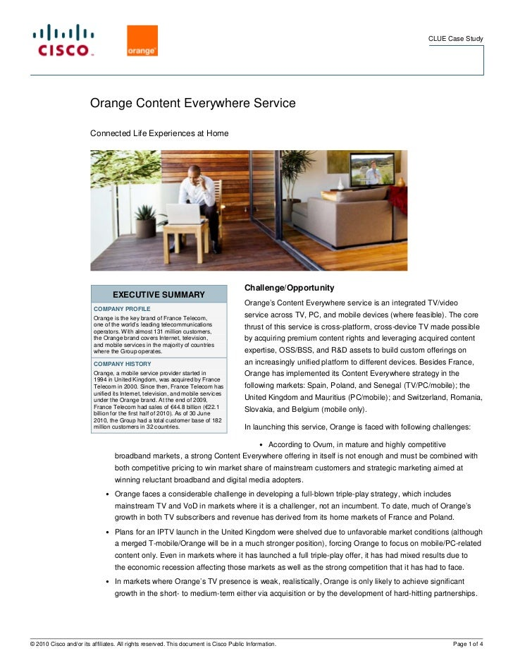 CLUE Case Study                        Orange Content Everywhere Service                        Connected Life Experiences...