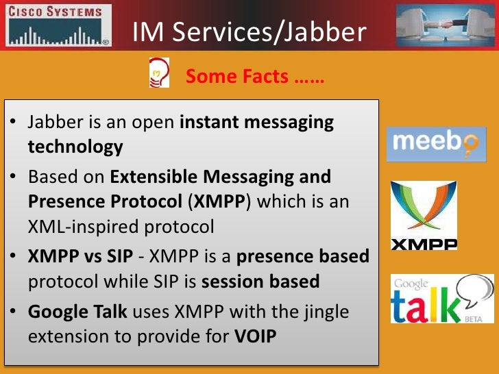 Extensible Messaging And Presence Protocol : Cisco presentation