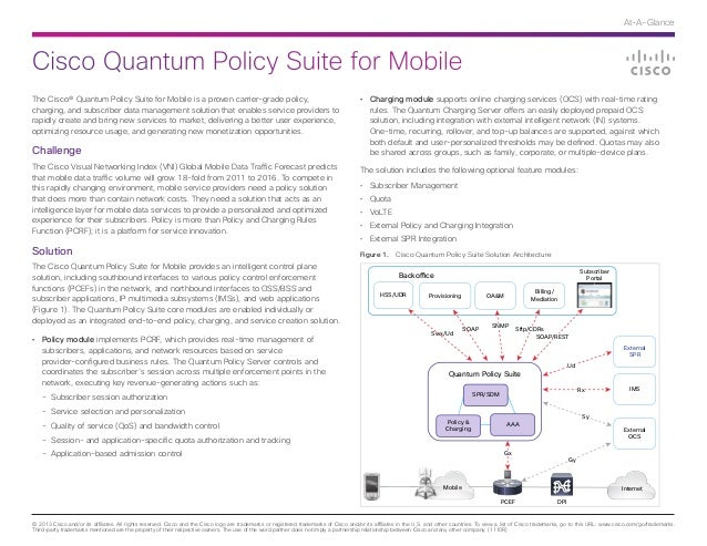 Cisco Quantum Policy Suite for Mobile At-A-Glance © 2013 Cisco and/or its affiliates. All rights reserved. Cisco and the C...