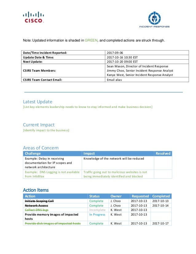 Incident Response Services Template - Cisco Security