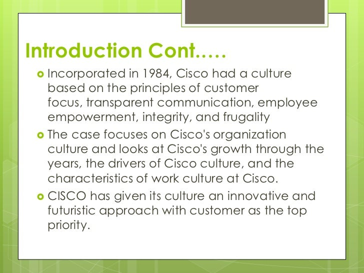 cisco culture Research cisco systems with over reviews from real employees learn from their stories and discover if cisco systems is right for you.