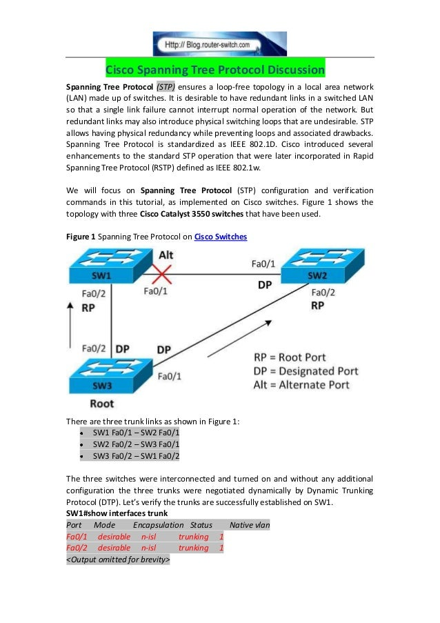 Cisco Spanning Tree Protocol DiscussionSpanning Tree Protocol (STP) ensures a loop-free topology in a local area network(L...