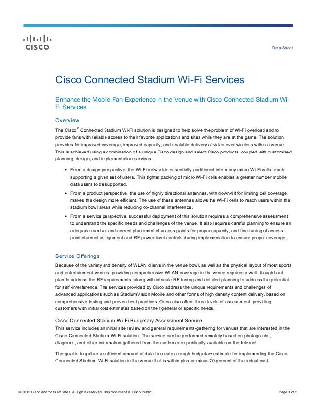 Data Sheet                        Cisco Connected Stadium Wi-Fi Services                        Enhance the Mobile Fan Exp...