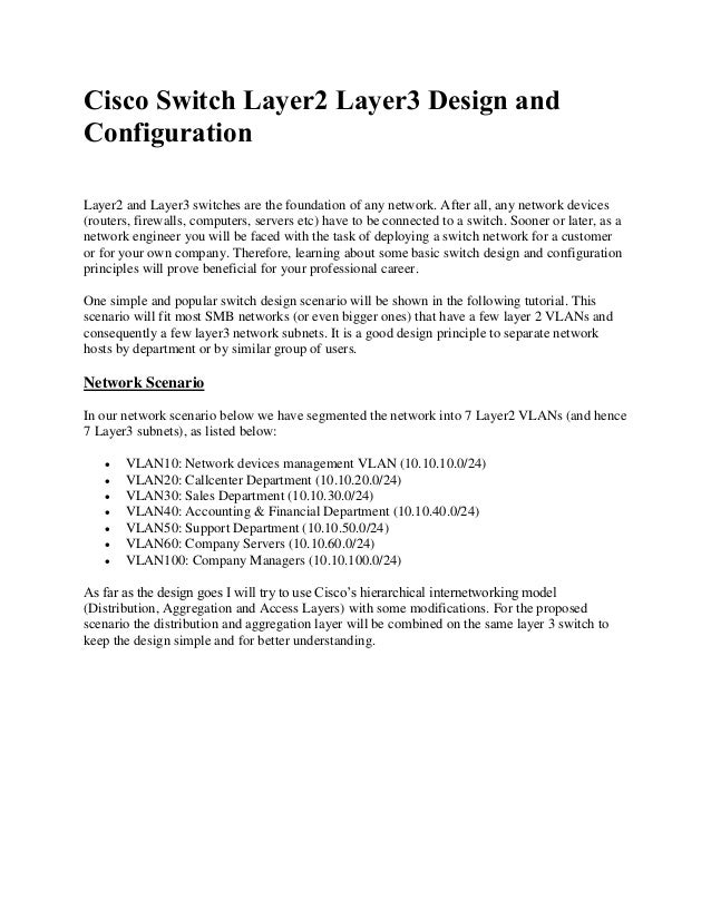 Cisco Switch Layer2 Layer3 Design and Configuration