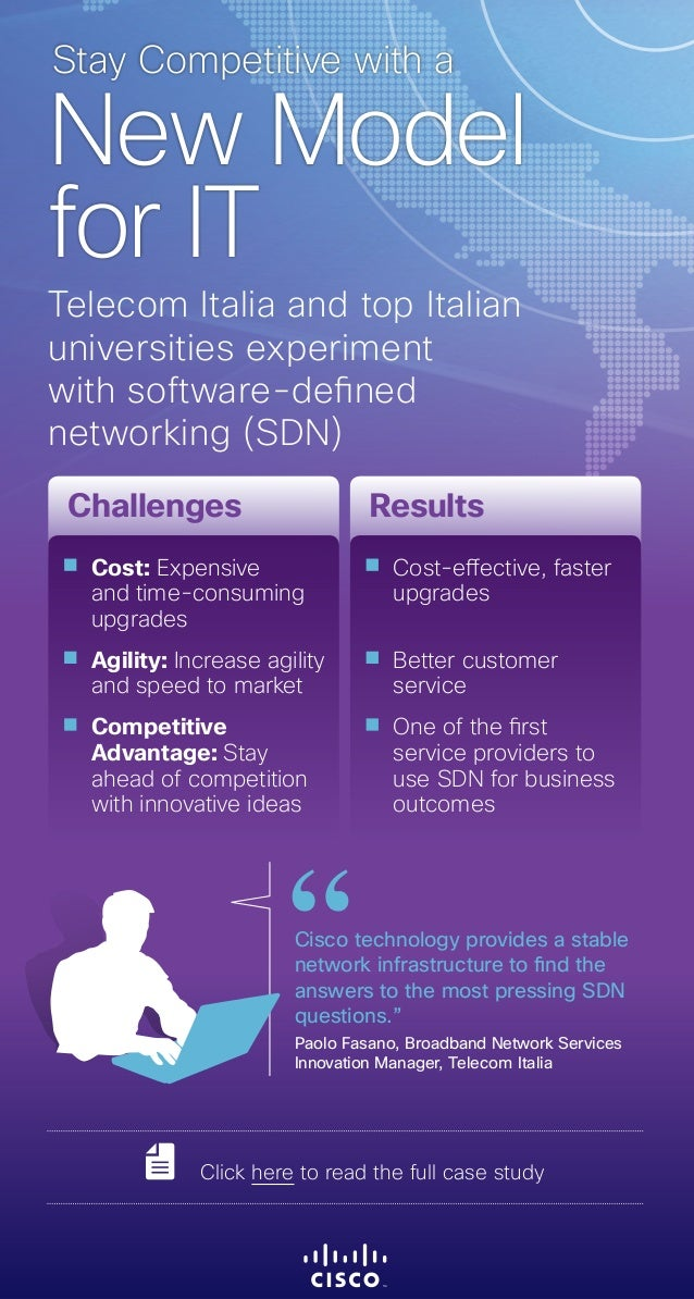 Telecom Italia and top Italian universities experiment with software-defined networking (SDN) New Model for IT Stay Compet...