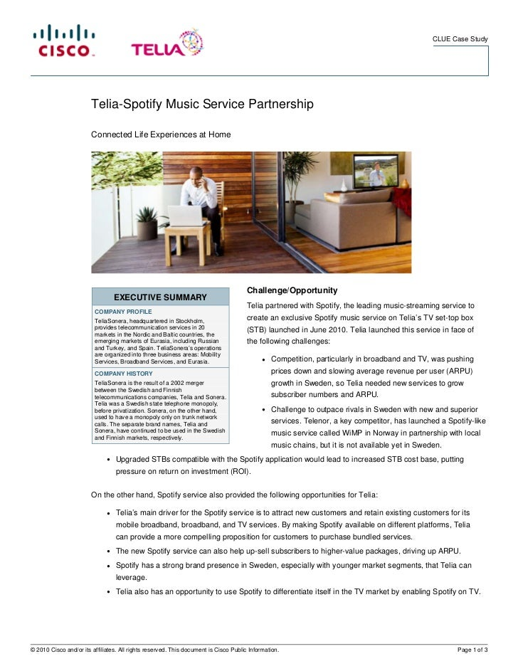CLUE Case Study                        Telia-Spotify Music Service Partnership                        Connected Life Exper...