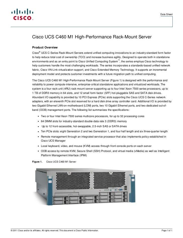 Data Sheet                        Cisco UCS C460 M1 High-Performance Rack-Mount Server                        Product Over...