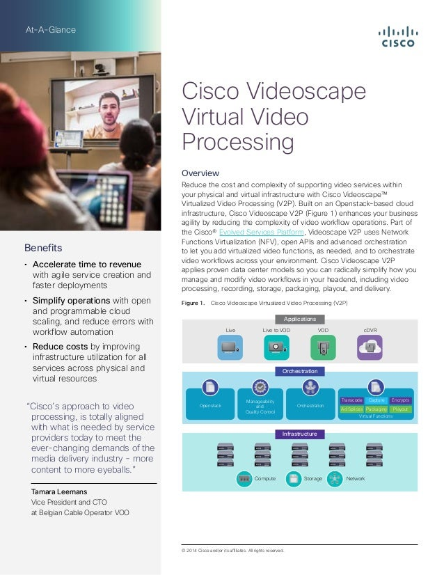 At-A-Glance Overview Reduce the cost and complexity of supporting video services within your physical and virtual infrastr...