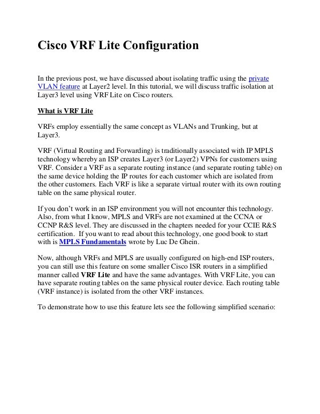 Cisco VRF Lite Configuration