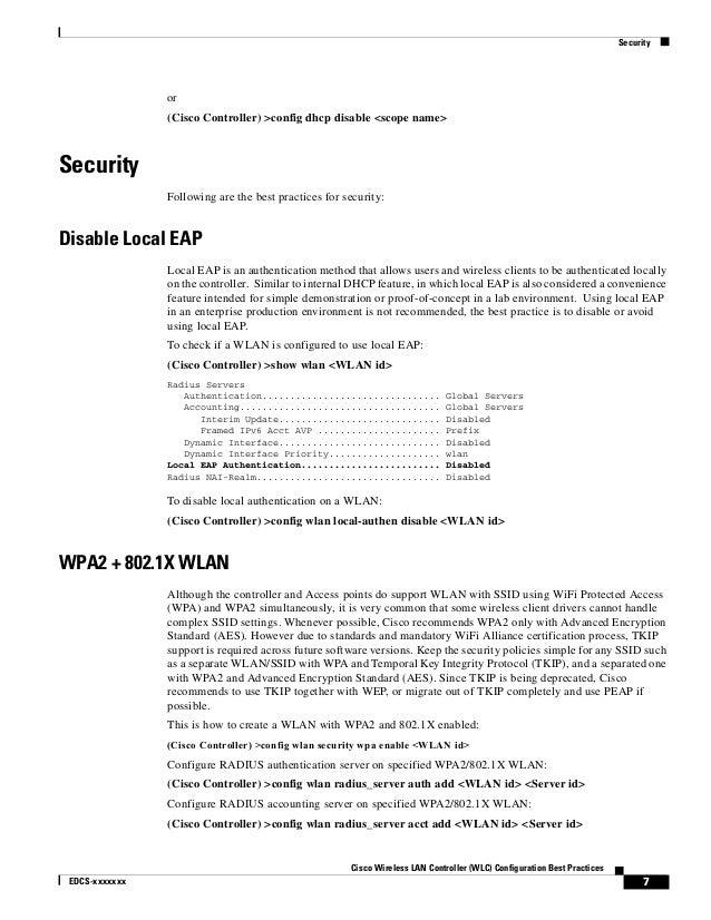 Cisco wireless lan controller configuration best practices