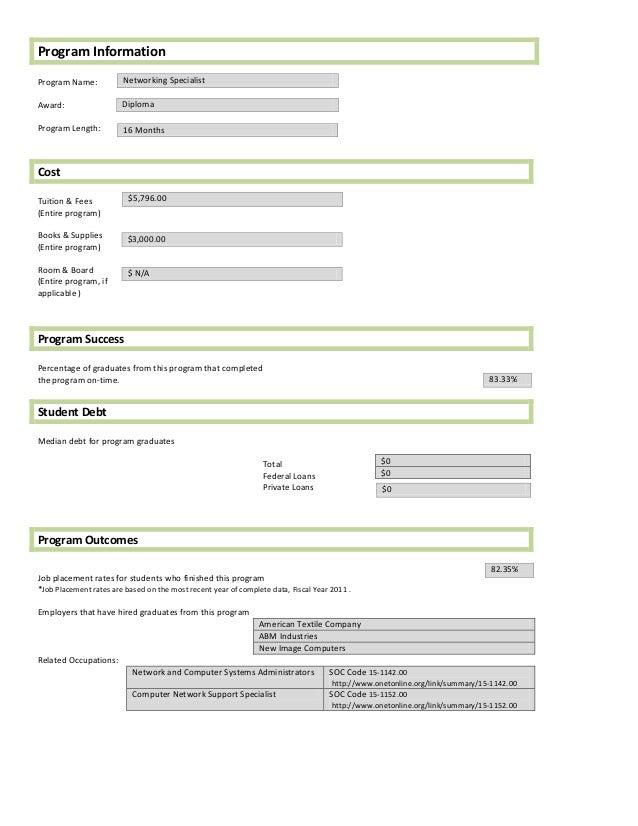 Program InformationProgram Name:           Networking SpecialistAward:                  DiplomaProgram Length:         16 ...