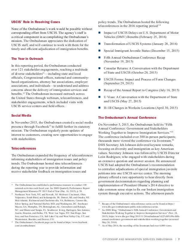 USCIS Ombudsman Annual Report 2016