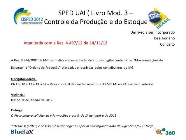 SPED UAI ( Livro Mod. 3 –                      Controle da Produção e do Estoque                                          ...