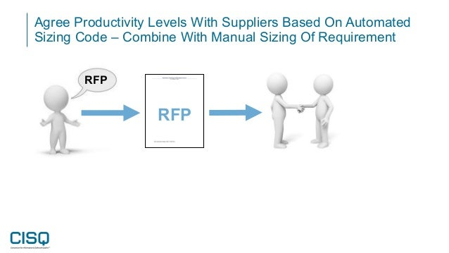 Agree Productivity Levels With Suppliers Based On Automated Sizing Code – Combine With Manual Sizing Of Requirement RFP RFP
