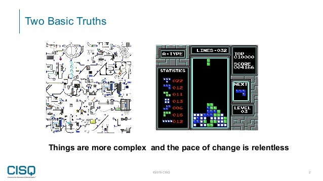 Two Basic Truths ©2019 CISQ 2 Things are more complex and the pace of change is relentless