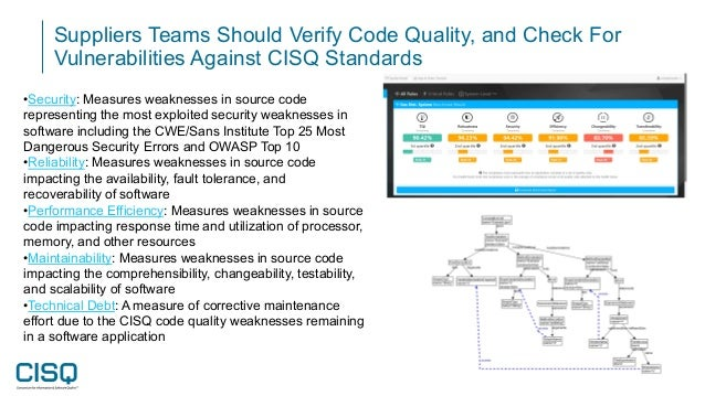 Suppliers Teams Should Verify Code Quality, and Check For Vulnerabilities Against CISQ Standards •Security: Measures weakn...