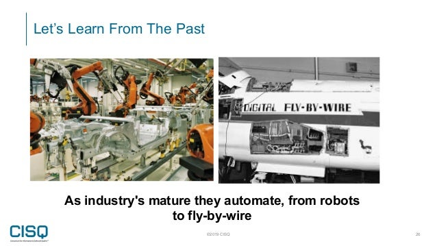 Let's Learn From The Past ©2019 CISQ 26 As industry's mature they automate, from robots to fly-by-wire