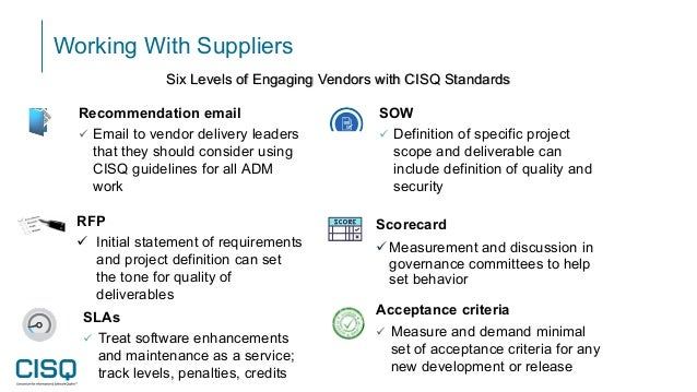 Working With Suppliers Scorecard Measurement and discussion in governance committees to help set behavior SLAs  Treat so...