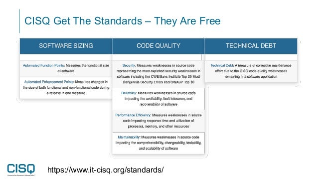 CISQ Get The Standards – They Are Free https://www.it-cisq.org/standards/