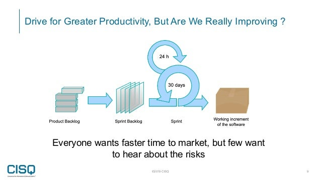 Drive for Greater Productivity, But Are We Really Improving ? ©2019 CISQ 9 Everyone wants faster time to market, but few w...