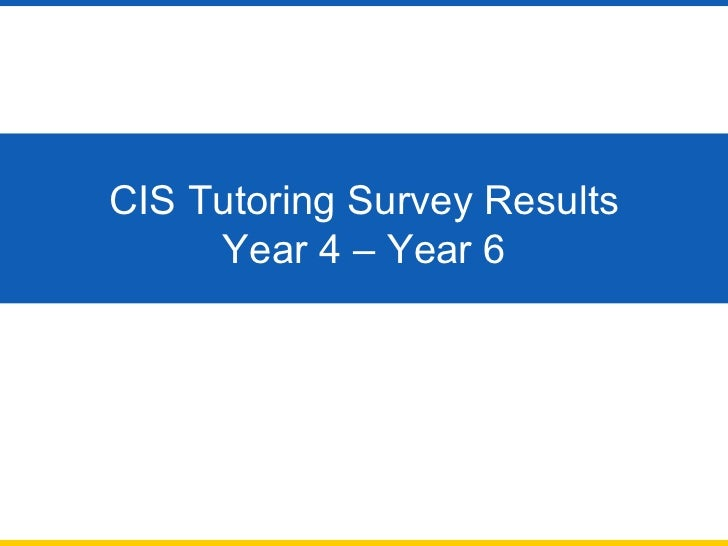 CIS Tutoring Survey Results Year 4 – Year 6