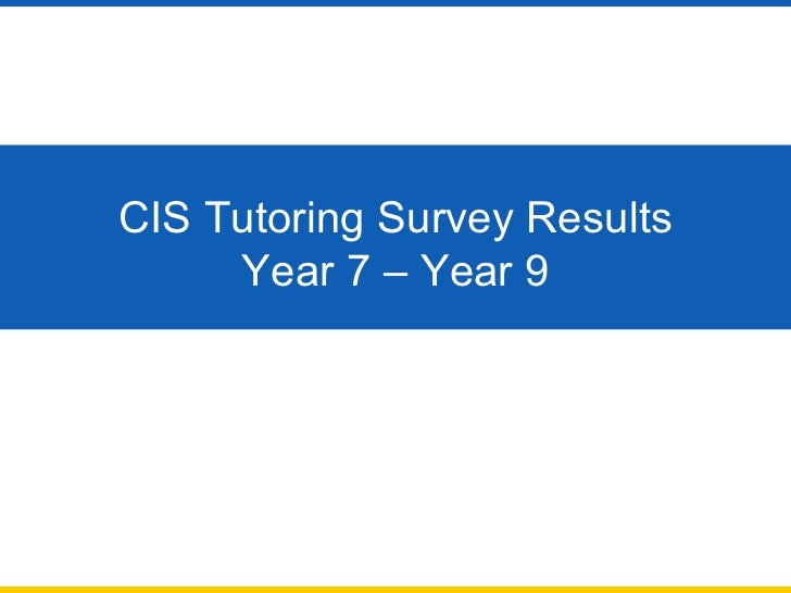 CIS Tutoring Survey Results Year 7 – Year 9