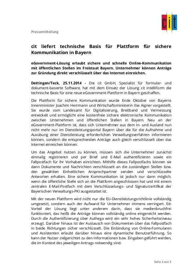 Pressemitteilung  cit liefert technische Basis für Plattform für sichere  Kommunikation in Bayern  eGovernment-Lösung erla...