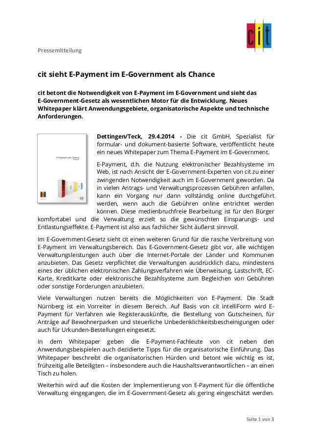 Pressemitteilung               Seite  1  von  3   cit sieht E-Payment im E-Government als Chance cit bet...