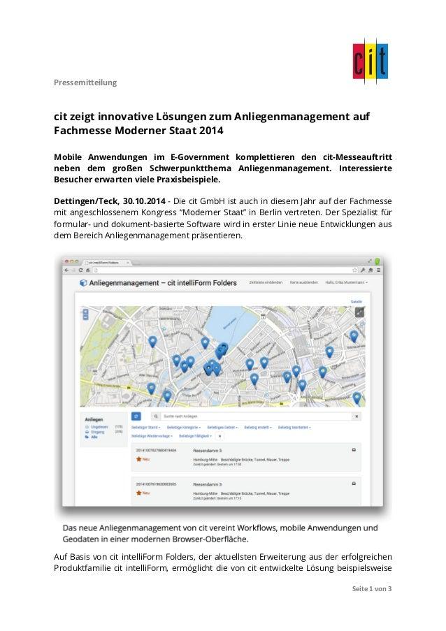 Pressemitteilung  cit zeigt innovative Lösungen zum Anliegenmanagement auf  Fachmesse Moderner Staat 2014  Mobile Anwendun...