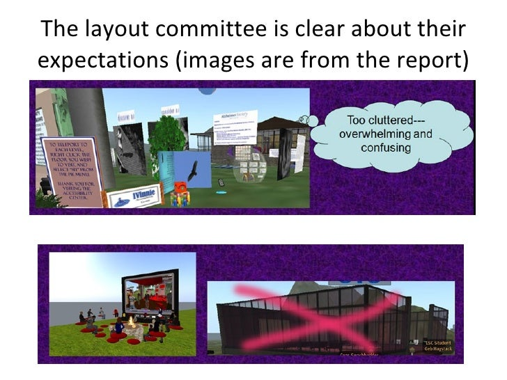 The layout committee is clear about their expectations (images are from the report)