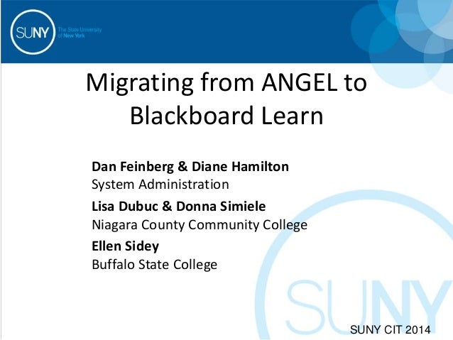 Migrating from ANGEL to Blackboard Learn Dan Feinberg & Diane Hamilton System Administration Lisa Dubuc & Donna Simiele Ni...