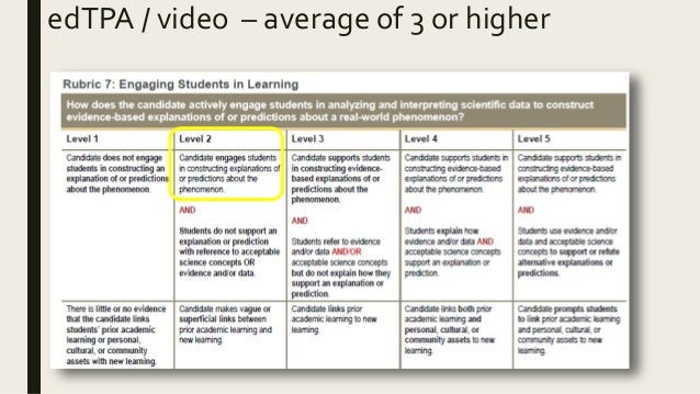 edTPA / video – average of 3 or higher