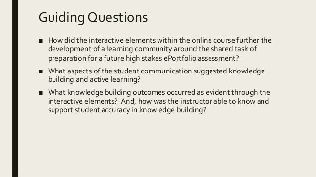 Guiding Questions ■ How did the interactive elements within the online course further the development of a learning commun...