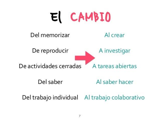 Del  memorizar     De  reproducir   De  actividades  cerradas   Del  saber   Del  trabajo  individ...