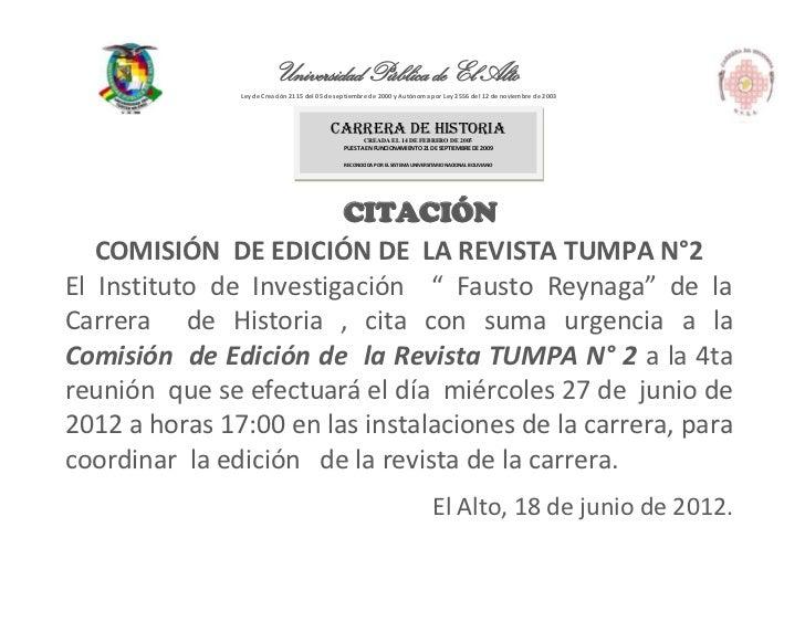 Universidad Pública de El Alto               Ley de Creación 2115 del 05 de septiembre de 2000 y Autónoma por Ley 2556 del...