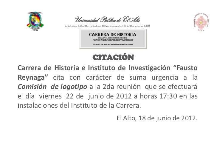 Universidad Pública de El Alto              Ley de Creación 2115 del 05 de septiembre de 2000 y Autónoma por Ley 2556 del ...