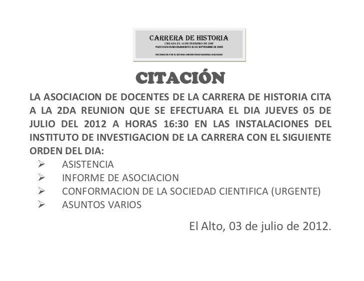 Carrera de Historia                             CREADA EL 14 DE FEBRERO DE 2005                       PUESTA EN FUNCIONAMI...