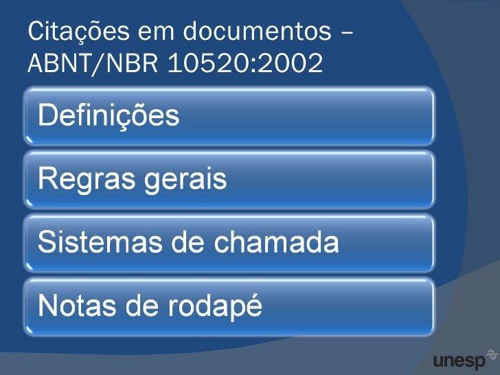 Citações em documentos – ABNT/NBR 10520:2002