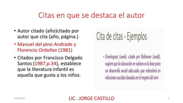 Citas en que se destaca el autor • Autor citado (año)citado por autor que cita (año, página.) • Manuel del pino Andrade y ...