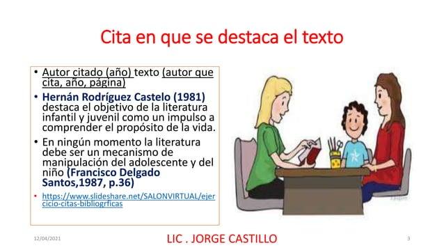 Cita en que se destaca el texto • Autor citado (año) texto (autor que cita, año, página) • Hernán Rodríguez Castelo (1981)...